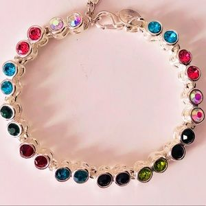 Jewelry - NEW! COLORFUL CRYSTAL 925 SILVER TENNIS BRACELET
